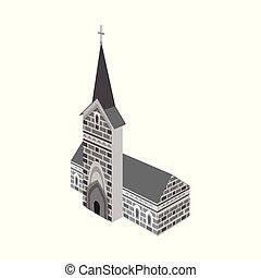 カトリック教, stock., シンボル。, イラスト, ベクトル, コレクション, 教会, 建設, アイコン