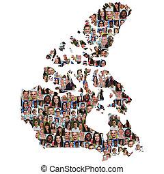 カナダの地図, グループ, 人々, multicultural, 若い, 統合, 多様性