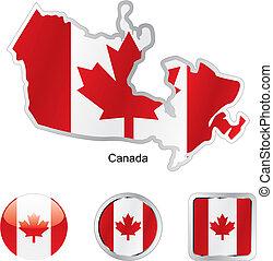 カナダの地図, 網, ボタン, 形, 旗