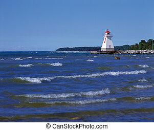 カナダ, オンタリオ, 灯台, 海岸, saugeen