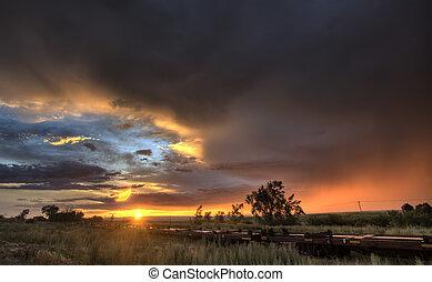 カナダ, サスカチェワン, 草原, 日没