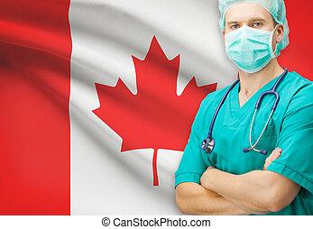 カナダ, シリーズ, 国民, -, 旗, 背景, 外科医