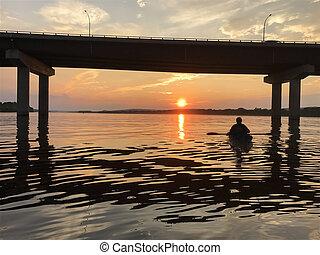 カナダ, ジョン, fredericton, カヤックを漕ぐ, ブランズウィック, 日没, 聖者, 新しい, 川