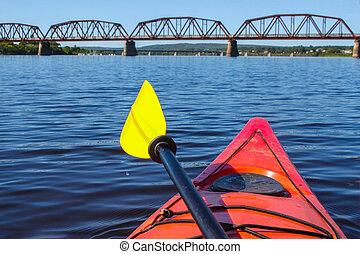 カナダ, ジョン, fredericton, カヤックを漕ぐ, n, ブランズウィック, 聖者, 新しい, 川