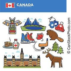 カナダ, セット, アイコン, 文化, 旅行, シンボル, 有名, ベクトル, 観光事業, ランドマーク