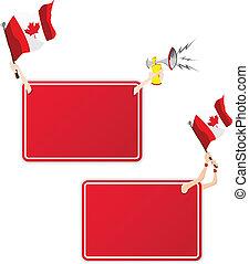 カナダ, セット, flag., フレーム, 2, メッセージ, スポーツ