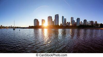 カナダ, ダウンタウンに, コロンビア, 入り江, イギリス, 虚偽である, バンクーバー