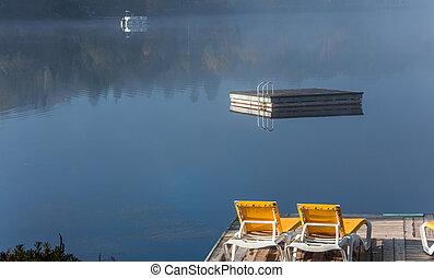 カナダ, ドック, ケベック, lac-superieur, mont-tremblant