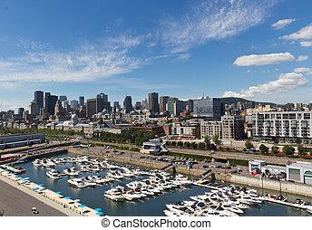 カナダ, モントリオール, ダウンタウンに, スカイライン, マリーナ, 光景