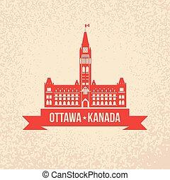 カナダ, 中心, シンボル, 平和, -, オタワ, タワーの ブロック