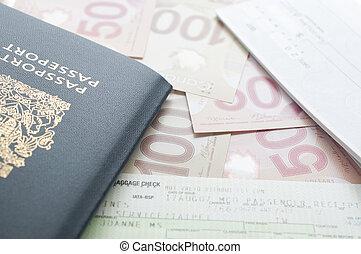 カナダ, 乗ること, テーブル, パスポート, パス