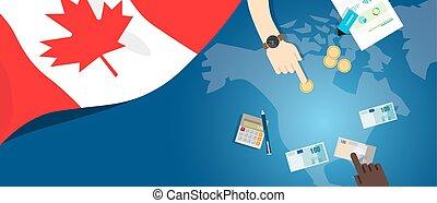 カナダ, 会計である, 概念, 財政, 地図, お金, 予算, イラスト, 取引しなさい, 通貨, 旗, 銀行業