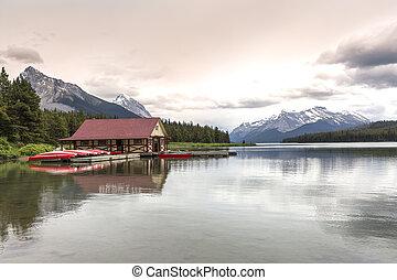 カナダ, 山, ボートハウス, 湖, アルバータ