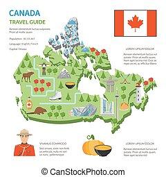 カナダ, 平ら, 地図, ポスター, 旅行ガイド