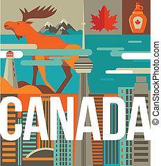カナダ, 心, 要素, 愛, アイコン, -