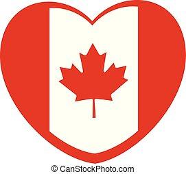 カナダ, 心, illustration., 形づくられた, flag., ベクトル