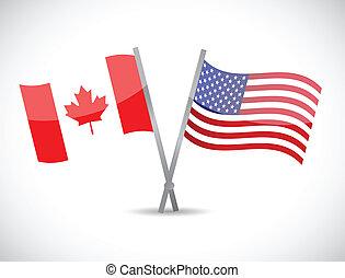 カナダ, 概念, 協力, 私達, イラスト