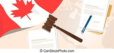 カナダ, 概念, 憲法, 正義, 立法, 旗, 法的, 裁判, ペン, ペーパー, 小槌, 使うこと, 法律, 判断