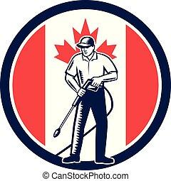 カナダ, 洗浄, 圧力, 旗, レトロ, 円