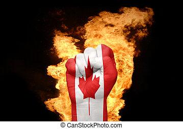 カナダ, 火, 国旗, 握りこぶし