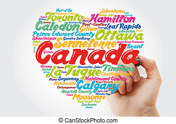 カナダ, 町, 都市, リスト