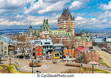 カナダ, 都市, frontenac, ケベック, 城, 光景