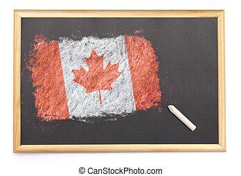 カナダ, 黒板, 国旗, 引かれる, on.(series)