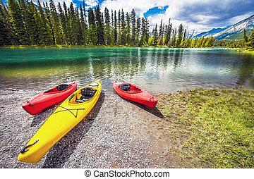 カナダ, banff の 国立公園, 弓, カヌー, アルバータ, 川