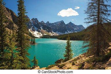 カナダ, banff, 国民, 日当たりが良い, 湖, 公園, 氷堆石, アルバータ, 日