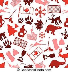 カナダ, eps10, 国, seamless, シンボル, icone, 主題, パターン