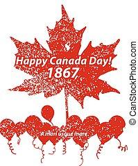 カナダ, format., ベクトル, 日, カード, 幸せ