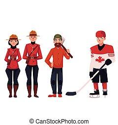 カナダ, lumberjack, 警官, 伝統的である, プレーヤー, ホッケー, ユニフォーム
