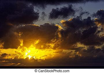 カナリア, 大西洋, 上に, 日の出, lanzarote, 島, -, スペイン