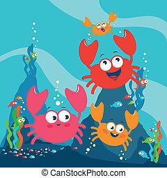 カニ, カラフルである, イラスト, ベクトル, sea., 下に, 水泳