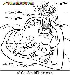 カニ, 着色, ベクトル, 浜。, 黒, 白ページ