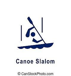 カヌー, スラローム, pictogram, 新しい, icon., スポーツ