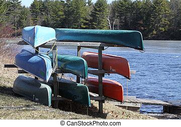 カヌー, 上に, 貯蔵の 棚
