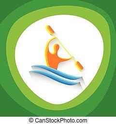 カヌー, 運動選手, スラローム, 競争, スポーツ, アイコン