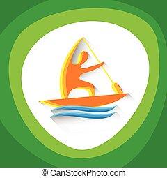 カヌー, 運動選手, 競争, スプリント, スポーツ, アイコン