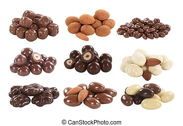 カバーされた, フルーツ, ナット, チョコレート