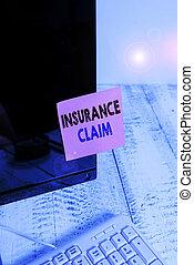 カバーされた, ペーパー, ビジネスコンピュータ, モニター, スクリーン, 補償, 戦略, ∥あるいは∥, 手, keyboard., 執筆, showcasing, 提示, 写真, claim., でき事, 白, 表示法, 適用範囲, 損失, 保険, 概念