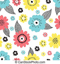カバー, バックグラウンド。, 黒, 型, パターン, 包むこと, 白, 春, 生地, デザイン, 引かれる, 花, ペーパー, 様々, カラフルである, seamless, 手, ベクトル, 黄色, 花, レトロ, かわいい, スタイル, 葉, 青, 赤