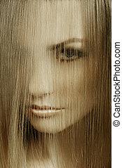 カバー, 終わり, 顔, 女, 髪アップ