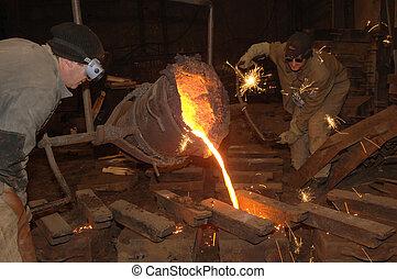 カビ, ひしゃく, 鋳物工場, -, 金属, 注がれた, 溶けている