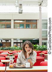 カフェテリア, トレー, 食物, 憂うつである, 学生