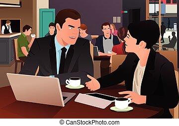 カフェテリア, 一緒に食べること, ビジネス 人々