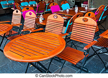 カフェ, フランス, パリ, 空の街路, 光景, テーブル, 椅子, 台地