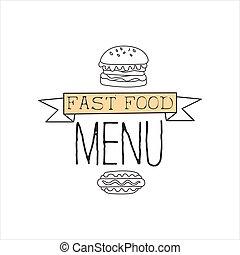 カフェ, 優れた, 食物, メニュー, 犬, 速い, 印, バーガー, 暑い, ベクトル, 通り, イラスト, 引かれる, デザイン, 昇進, 手, 品質, 単純である