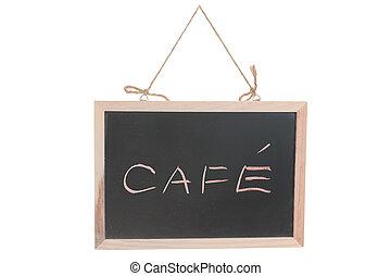 カフェ, 単語, 上に, 黒板
