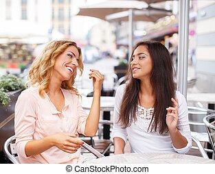 カフェ, 夏, 女の子, 2, 談笑する, 美しい